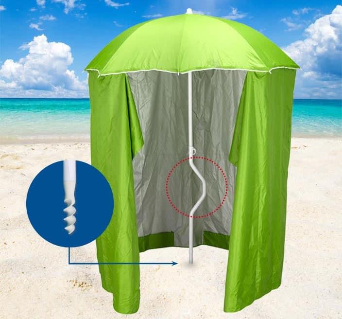 Ombrellone spiaggia brevettato Girafacile – GF200TUV, Ombrellone con tenda protezione raggi UV adatto per la spiaggie