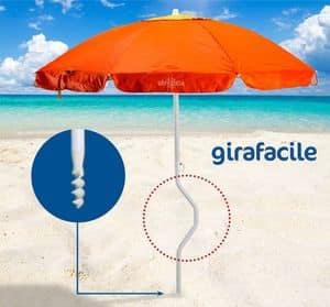 Ombrellone spiaggia brevettato Girafacile – GF200UVA, Ombrellone da spiaggia di facile fissaggio