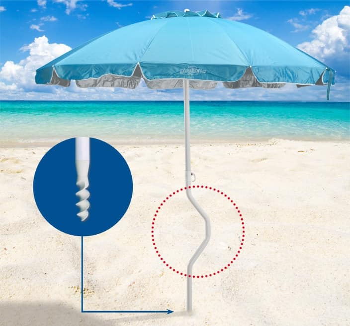 Ombrellone spiaggia brevettato Girafacile – GF220UVA, Ombrellone con 2,20 m di diametro adatto per la spiaggia