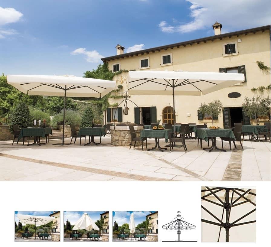 Napoli telescopico, Ombrellone per giardino con sistema telescopico