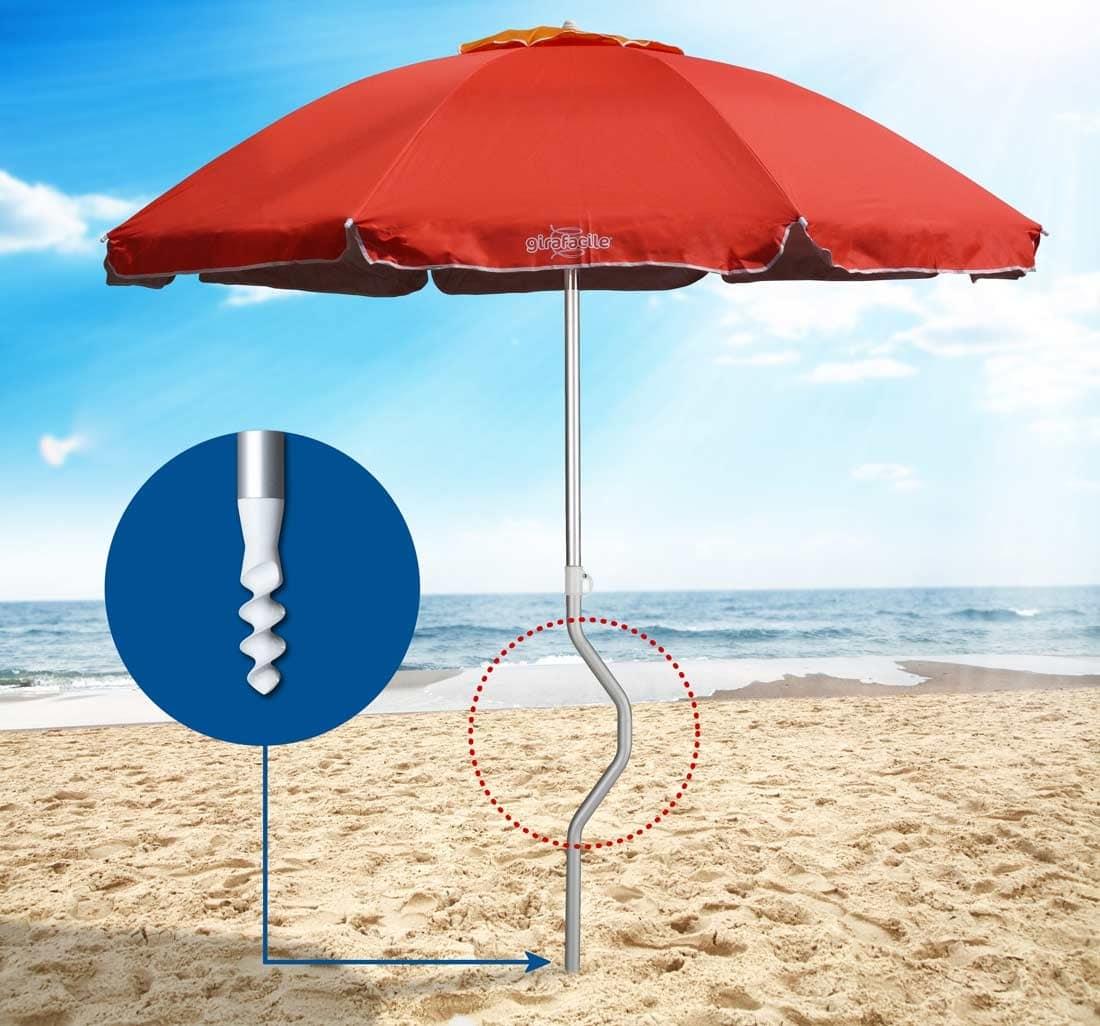 Ombrellone Girafacile brevettato – GF22ALUV, Ombrellone in alluminio, resistente al vento, per spiagge