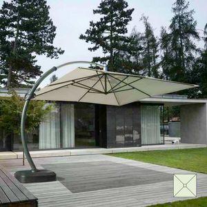 Ombrellone grande alluminio giardino braccio Copenaghen - CO350POL, Ombrellone quadrato, robusto e resistente