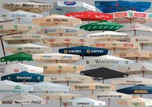 Ombrelloni pubblicitari, Ombrelloni pubblicitari in legno e alluminio