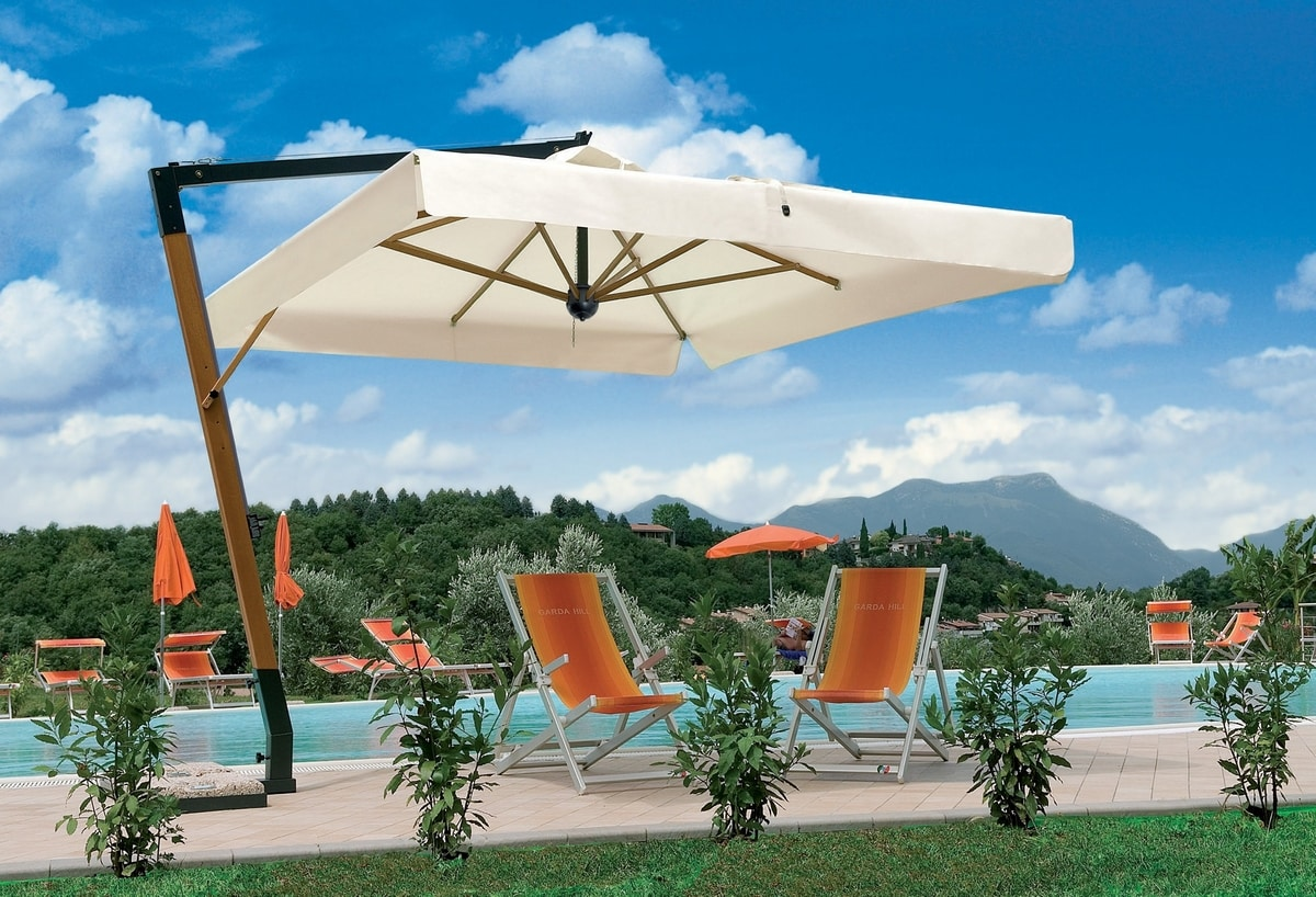 Palladio braccio, Ombrellone con struttura in legno, per giardini e piscine