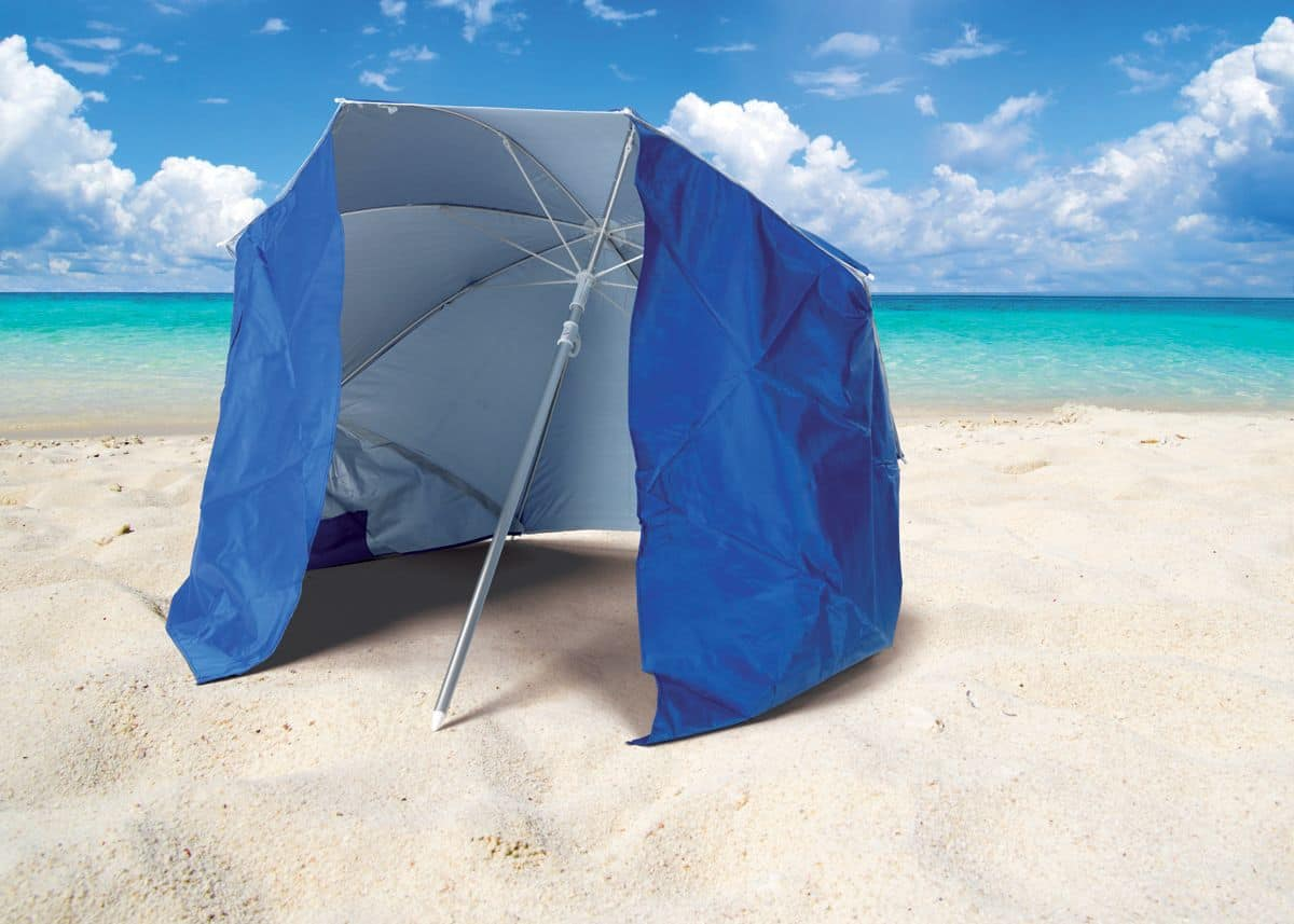 Ombrellone Da Spiaggia Pieghevole.Ombrellone Da Spiaggia Con Tenda Protezione Uva E Uvb Idfdesign