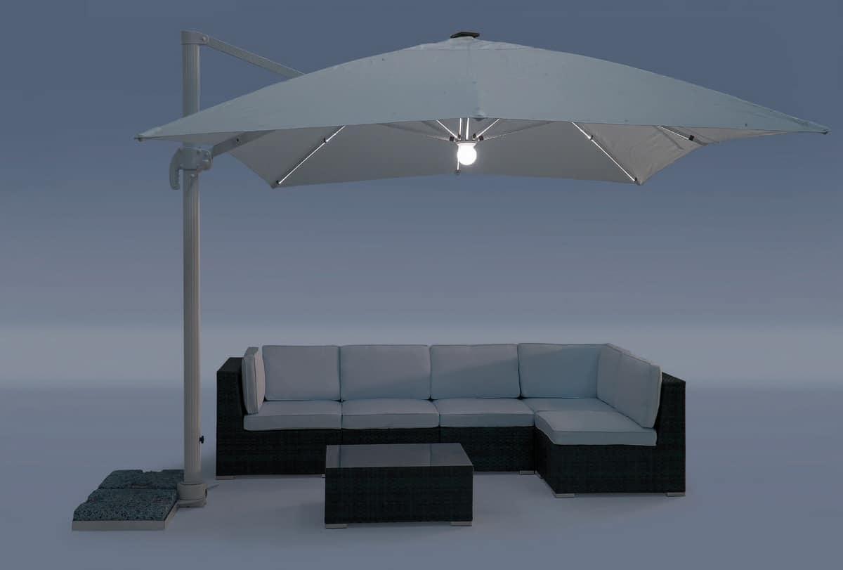 UM Cagliari Light, Ombrellone in alluminio con tessuto impermeabilizzato