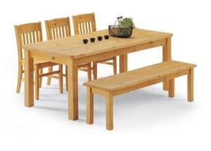 Collezione Panca Gambe, Panca tavolo completamente in pino, per case rustiche