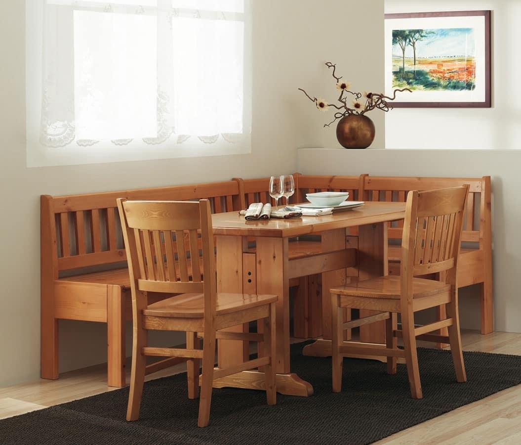 Panca tavolo in legno in stile tradizionale per la casa idfdesign - Panca angolare cucina ...