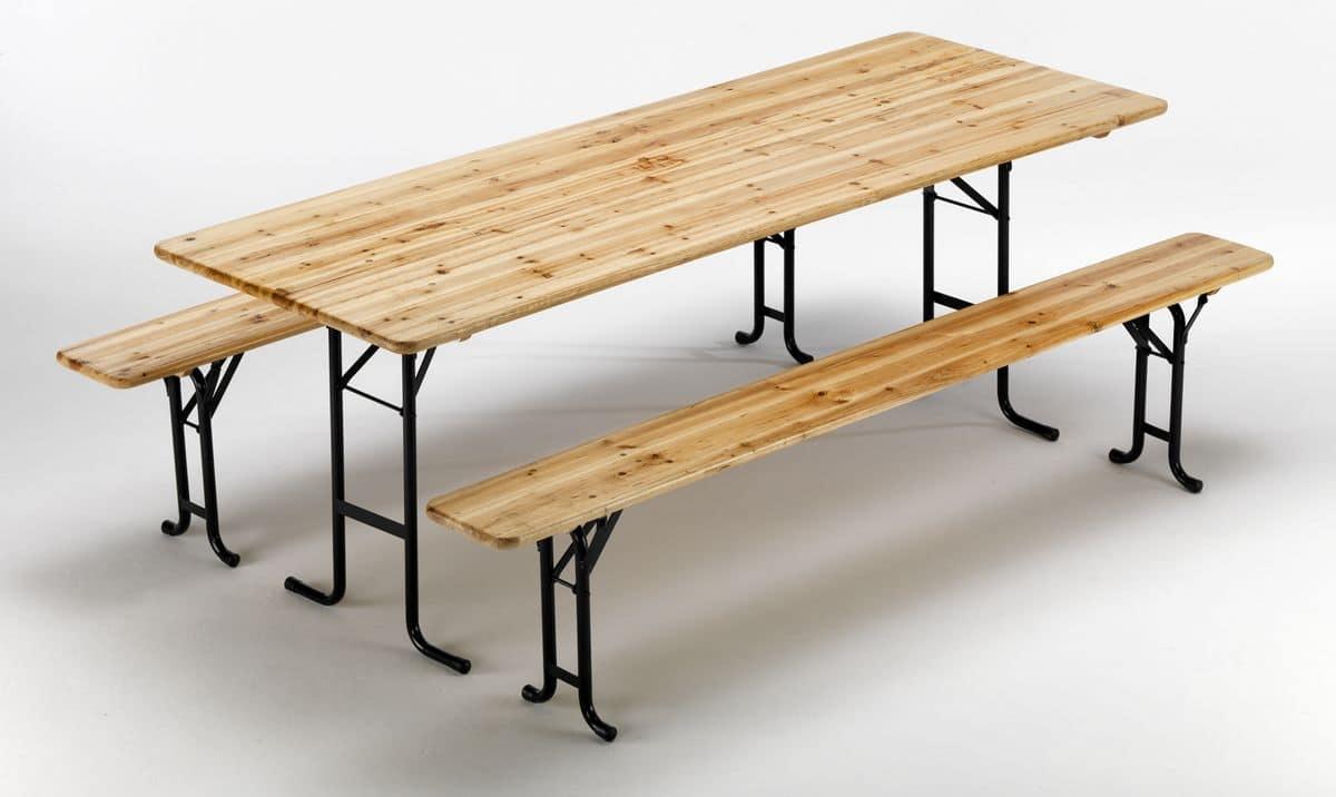Tavoli Con Panche In Legno Pieghevoli.Tavolo E Panche Con Meccanismo Di Chiusura Gambe Idfdesign
