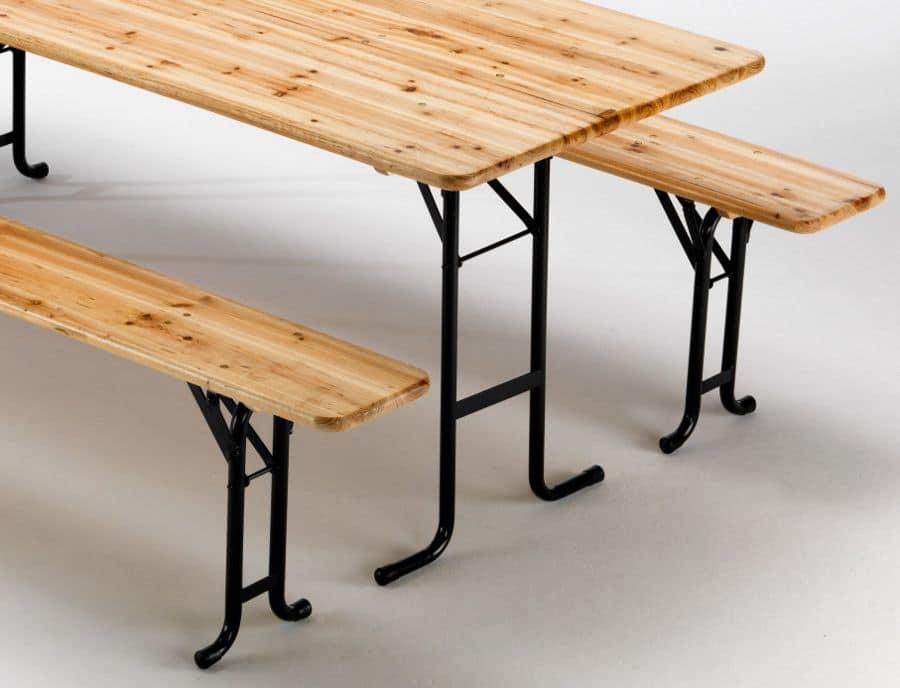 Tavolo e panche con meccanismo di chiusura gambe idfdesign - Tavolo con panca ad angolo moderno ...
