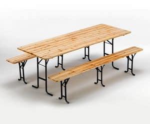Set birreria tavolo e panche in legno - SB223LEG, Panche e tavolo fatte in abete, chiudibili e stabili