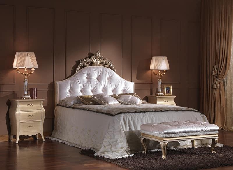 Panca imbottita classica di lusso in legno intagliato for Panca letto