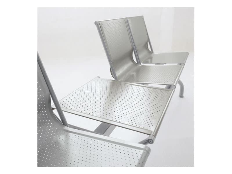 Pitagora panca 2, Panca moderna in acciaio forato, per sale d'attesa