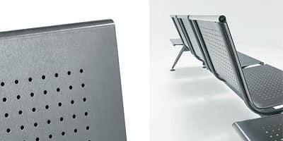 Ulisse inox, Panca moderna modulare su trave in acciaio satinato
