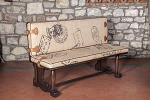 Art. CT 626, Panca rustica con imbottitura in juta