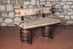 Art. CT 627J, Panca imbottita in stile rustico, seduta a botte