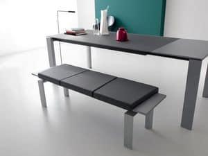 Panca 302/305, Panca in alluminio, cuscini in ecopelle, per Reception