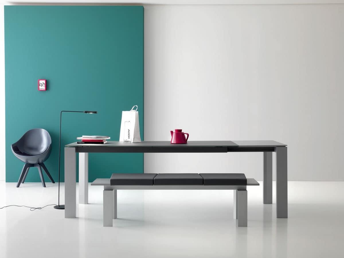 Panca in alluminio cuscini in ecopelle per reception for Cuscini per panca ad angolo