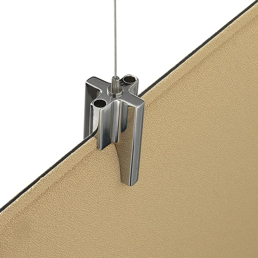Baffle Oversize, Sistema brevettato per sospendere pannelli fonoassorbenti