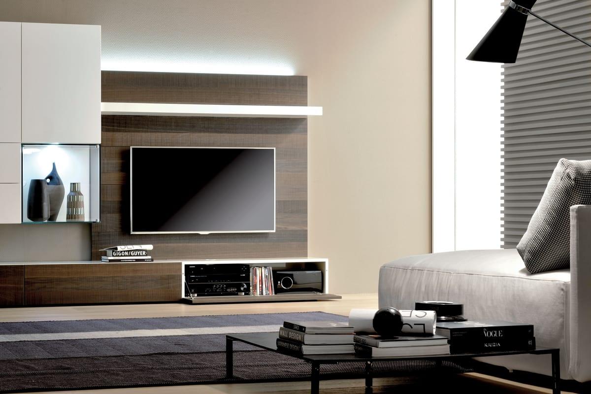 Parete attrezzata per soggiorno con luci led idfdesign for Immagini pareti attrezzate