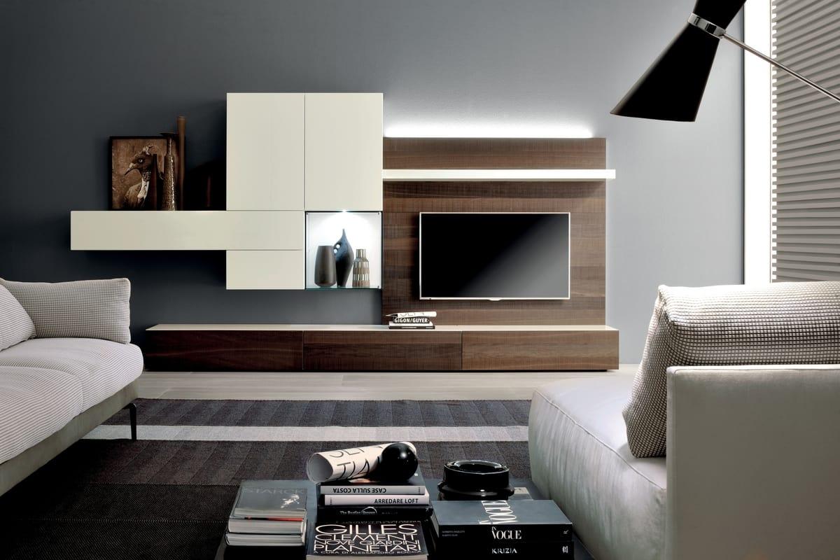 Parete attrezzata per soggiorno con luci LED | IDFdesign