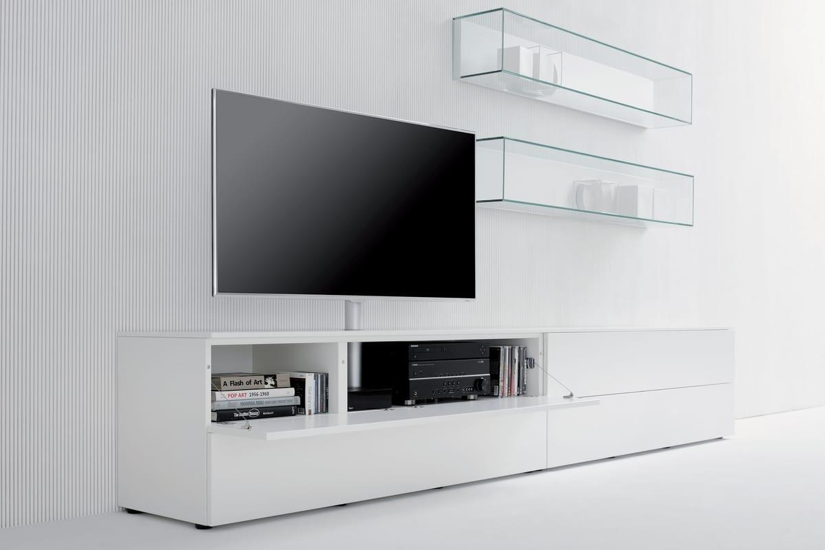 Parete attrezzata da soggiorno con supporto tv orientabile idfdesign - Supporto tv da parete ...