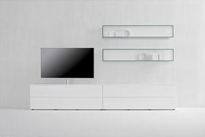 GRAPHOS GLASS 132, Parete attrezzata da soggiorno con supporto TV orientabile