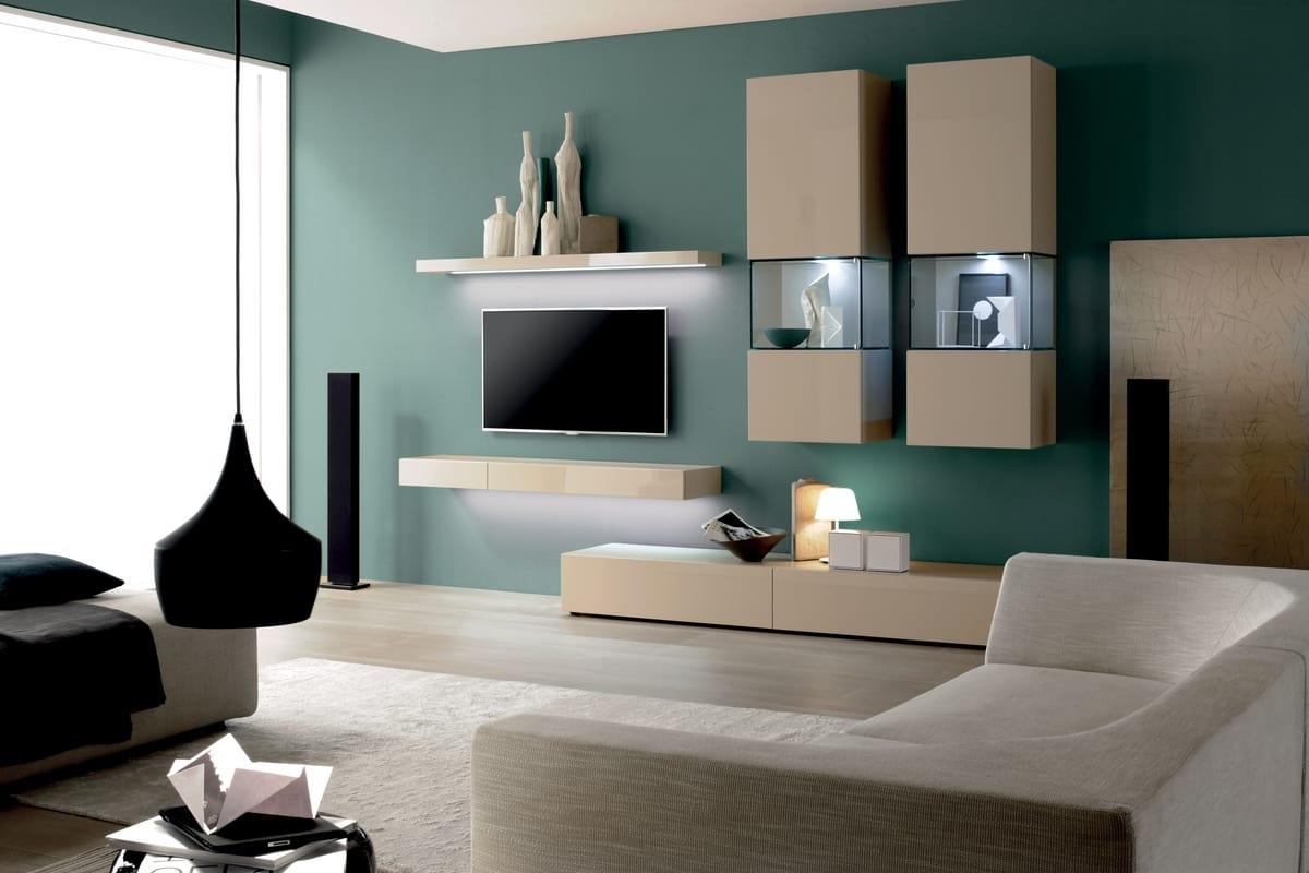 Parete attrezzata per soggiorno, stile moderno | IDFdesign