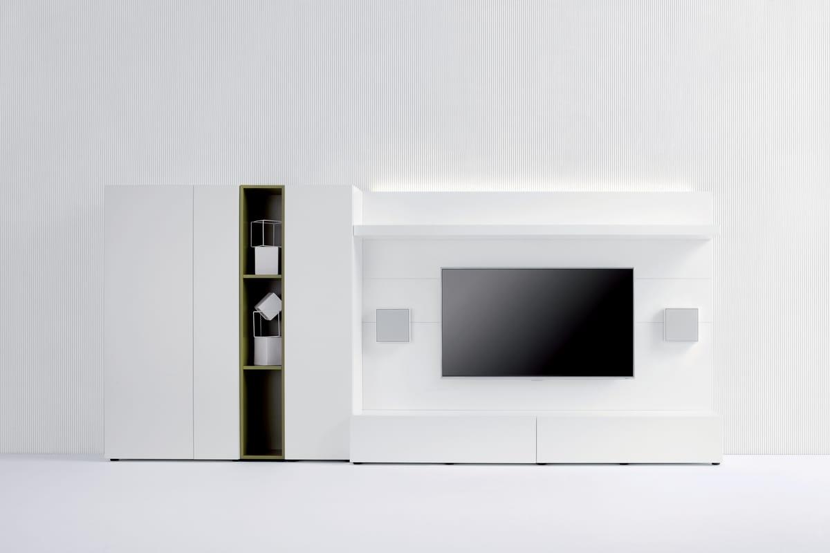 Pareti In Legno Bianco : Parete attrezzata per salotto in legno bianco idfdesign