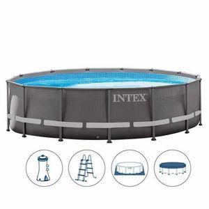 Intex 26310 ex 28310 Piscina fuori terra ultra frame rotonda 427x107cm - 26310, Piscina rotonda con pompa filtro e scaletta