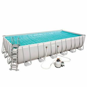 Piscina fuori terra Bestway 56475 Rettangolare Power Steel 732x366x132 - 56475B, Ampia piscina fuori terra per giardino