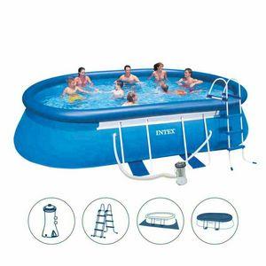 Piscina fuori terra Intex 26192 ex 28192 Oval Frame ovale 549x305x107 - 26192, Grande piscina gonfiabile con scaletta e filtro acqua