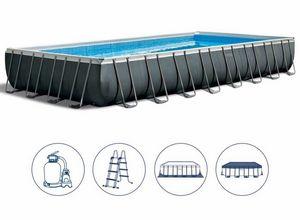 Piscina Fuori Terra Intex 26374 Ex 26372 Ultra Frame Rettangolare Grande 975x488x132, Grande piscina gonfiabile con copertura