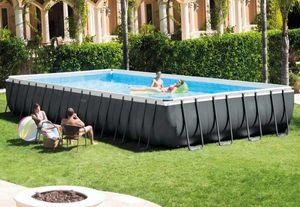 Piscina Fuori Terra Intex 26378 Ex 26376 Ultra Frame Rettangolare Volley 975x488x132, Grande piscina rettangolare per esterni
