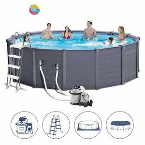Piscina Fuori Terra Intex 26382 Ex 28382 Graphite Rotonda 478x124, Grande piscina gonfiabile tonda da esterno
