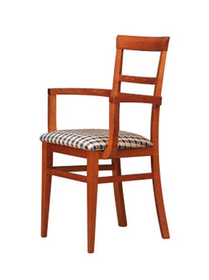 314 P, Poltroncina in legno, seduta imbottita, per alberghi