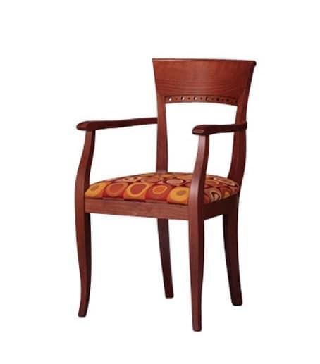 441, Sedia in legno di faggio, con braccioli, per alberghi