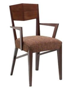 C29, Poltroncina in legno, seduta imbottita e ricoperta in tessuto, per hotel e ristoranti