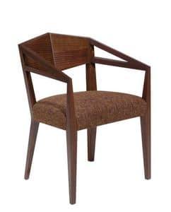 C32, Poltroncina in legno massello, seduta imbottita, ricoperta in tessuto, per ristoranti e bar