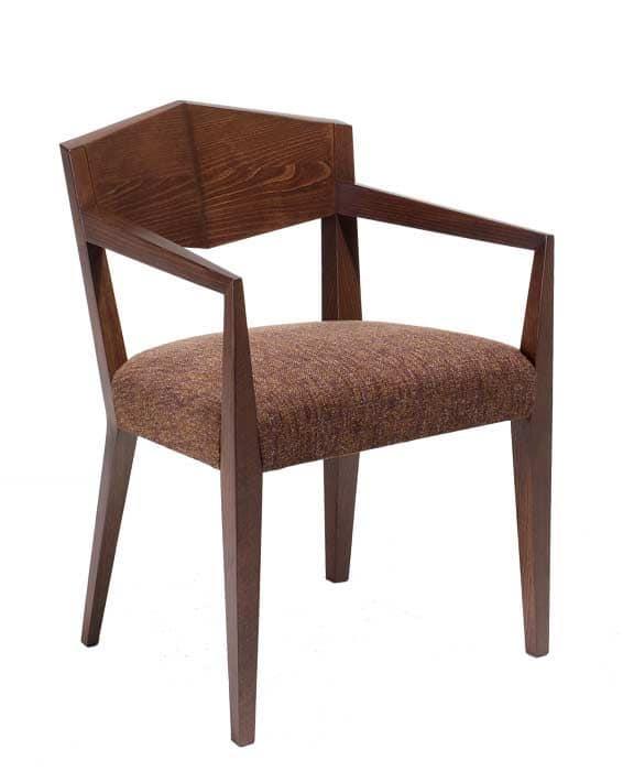 C34, Poltroncina in legno, seduta imbottita e ricoperta in tessuto, per hotel e ristoranti