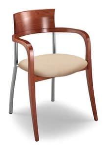 Egle F, Sedia con struttura in faggio e metallo, seduta imbottita
