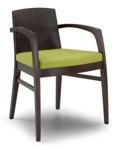 Ketty L, Sedia moderna con schienale in legno pieno, per uso contract
