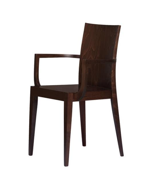 M08, Sedia in legno con braccioli, per uso contract
