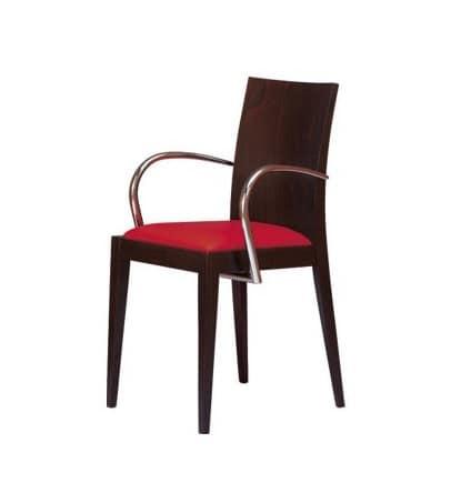 M09, Poltroncina in legno, seduta imbottita, per hotel e ristoranti