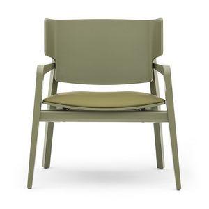 Offset 02842, Poltrona in legno massiccio, seduta imbottita, in stile moderno