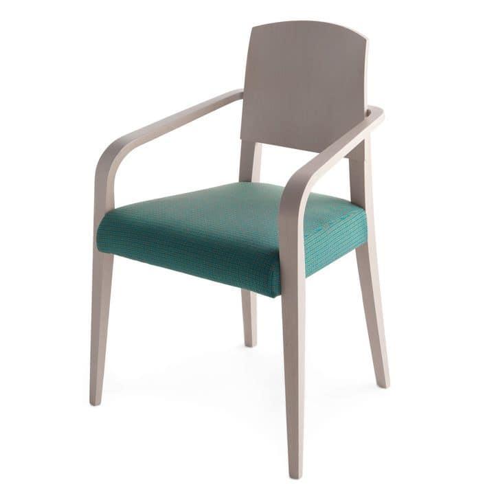 Sedia in legno massiccio, seduta imbottita, copertura in tessuto, stile moderno  IDFdesign