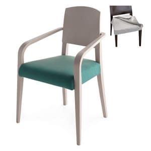 Piper 00823, Poltroncina in legno massiccio, seduta imbottita, copertura in tessuto, stile moderno