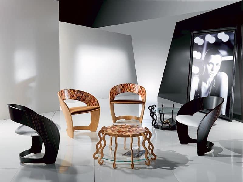 Poltroncina in legno con seduta imbottita intarsio a mosaico idfdesign - Carpanelli mobili ...
