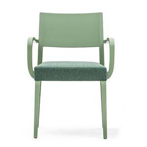 Sintesi 01523, Poltroncina in legno massiccio, seduta imbottiti, per ambienti contract e domestici