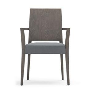 Timberly 01721, Poltroncina impilabile, struttura in legno massiccio, seduta imbottita, copertura in tessuto, per sale da pranzo